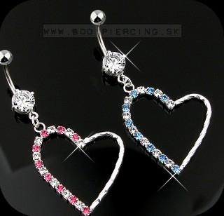 piercing do pupku :: BELLY BUTTON RING :: dangling heart mutlizirkon