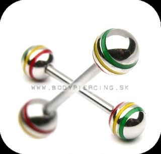 piercing do jazyka::  STRAIGHT BARBELL::  rasta stripeball