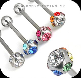 piercing do jazyka ::  STRAIGHT BARBELL :: multizirkon ball