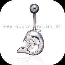 piercing do pupku :: BELLY BUTTON RING:: dolphin zirkon clear