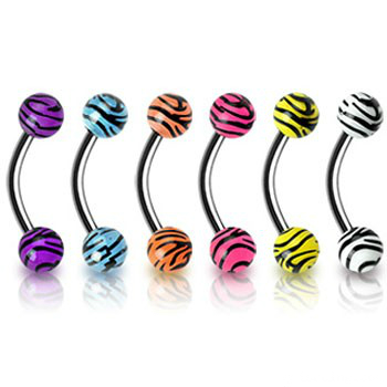 piercing činka :: curved barbell :: tiger prints ball