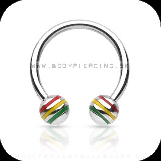piercing do bradavky :: CIRCULLAR BARBELL :: rasta stripe ball
