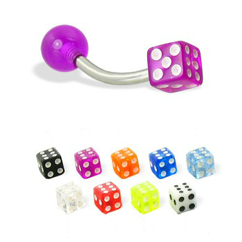 piercing do obočia :: curved barbell :: acryl dice ball