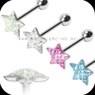 piercing do jazyka::  STRAIGHT BARBELL:: multigem star