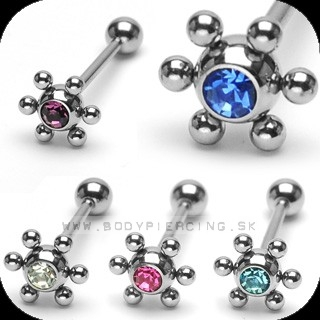 piercing do jazyka::  STRAIGHT BARBELL:: molekula ball