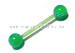 piercing do jazyka :: STRAIGHT BARBELL:: bioplast check green