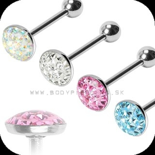 piercing do jazyka::  STRAIGHT BARBELL:: multigem dome