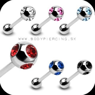 piercing do jazyka::  STRAIGHT BARBELL:: 5gem set