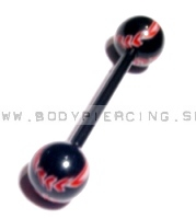 piercing do jazyka::STRAIGHT BARBELL::bioplast black