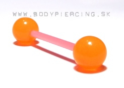 piercing do jazyka :: STRAIGHT BARBELL :: fosfor bioplast orange