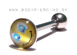 piercing do jazyka :: STRAIGHT BARBELL :: ACRYL LOGO smile