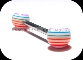 piercing do jazyka::  STRAIGHT BARBELL::  acrylBALL multistripe