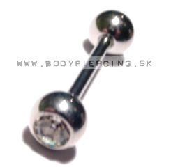 piercing do jazyka:: STRAIGHT BARBELL:: white zirkon ball
