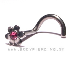 piercing do nosa :: NOSTRIL curved stud :: flower zirkon pink