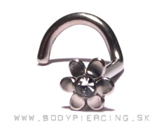 piercing do nosa :: NOSTRIL curved stud :: flower zirkon white