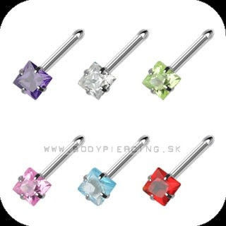 piercing do nosa :: NOSTRIL STEEL BONE :: square gem