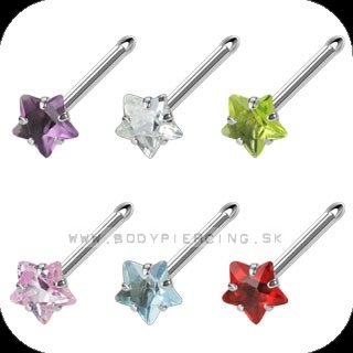 piercing do nosa :: NOSTRIL STEEL BONE :: star gem