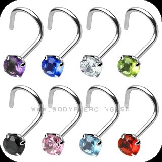 piercing do nosa :: NOSTRIL STEEL CURVED :: prong gem