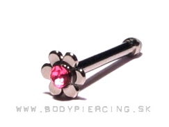 piercing do nosa :: NOSTRIL steel stud :: flower zirkon pink