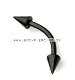piercing do obočia :: EYEBROW barbell :: two cone blackPVD