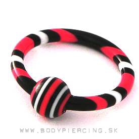 piercing do pery:: CAPTIVE BEAD RING:: 3stripes redblack