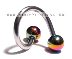 piercing do obočia :: SPIRAL ::TWISTER:: anodized rainbow ball