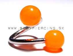 piercing do obočia :: SPIRAL :: TWISTER :: fosfor ball Orange