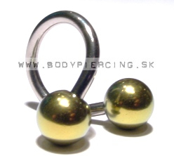 piercing do obočia:: SPIRAL::TWISTER:: anodized titanball gold