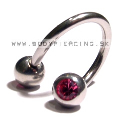 piercing do obočia ::  SPIRAL::TWISTER :: zirkon pinkball