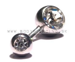 piercing do pupku ::  BELLY BUTTON RING ::  double zirkon white