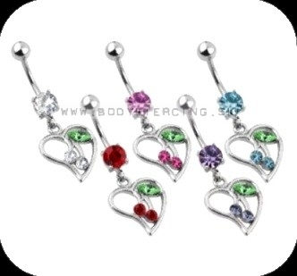 piercing do pupku ::BELLY BUTTON RING:: dangling heart/w cherries