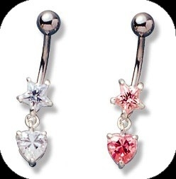 piercing do pupku :: BELLY BUTTON RING :: crystal star with heart