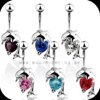 piercing do pupku :: BELLY BUTTON RING :: dolphin heart gem