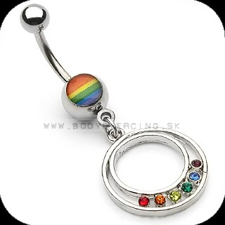 piercing do pupku :: BELLY BUTTON RING :: gay pride pendant