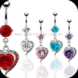 piercing do pupku :: BELLY BUTTON RING :: dangling heart gem