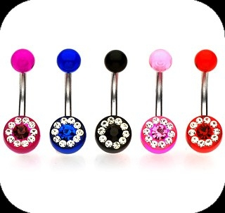 piercing do pupku :: BELLY BUTTON RING :: multi gem surrond
