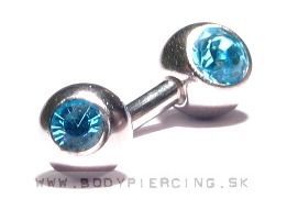 piercing do pupku ::  BELLY BUTTON RING ::  double zirkon blue