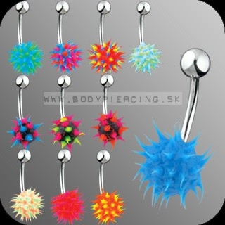 piercing do pupku :: BELLY BUTTON RING :: UV silicon spikes