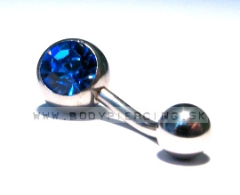 piercing do pupku :: BELLY BUTTON RING :: zirkon blue S