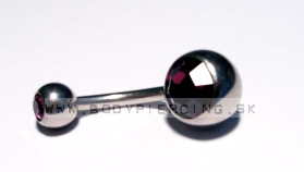 piercing do pupku ::  BELLY BUTTON RING ::  double zirkon purple