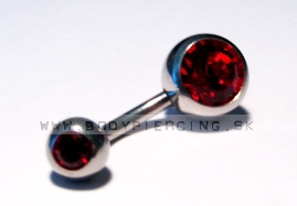 piercing do pupku ::  BELLY BUTTON RING ::  double zirkon red