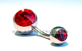 piercing do pupku :: BELLY BUTTON RING :: large zirkon 32red