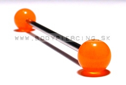 piercing do ucha:: INDUSTRIAL BARBELL:: fosfor orange ball::