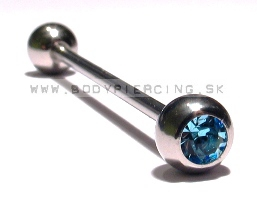 piercing do ucha:: INDUSTRIAL BARBELL :: zirkon blue ball ::