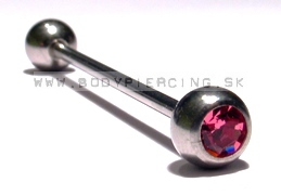 piercing do ucha:: INDUSTRIAL BARBELL :: zirkon pink ball ::