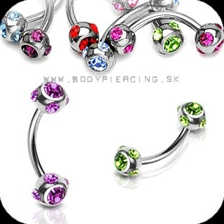 piercing do obočia :: CURVED BARBELL :: multizirkon BALLS