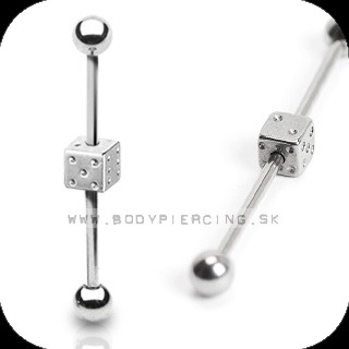 piercing do ucha:: INDUSTRIAL BARBELL:: dice barbell