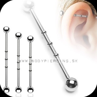 piercing do ucha:: INDUSTRIAL BARBELL:: notched barbell