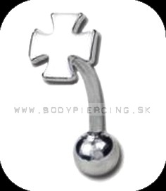 piercing do obočia :: CURVED BARBELL :: iron cross