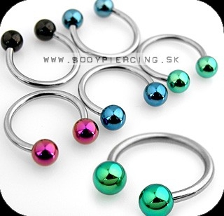 piercing do bradavky :: CIRCULLAR BARBELL :: anodised ball